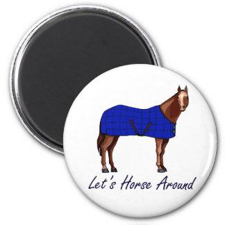 Deja el caballo alrededor de la manta azul de Brow Imán Redondo 5 Cm