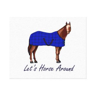 Deja el caballo alrededor de la manta azul de Brow Impresión En Lienzo