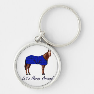 Deja el caballo alrededor de la manta azul de Brow Llavero Redondo Plateado