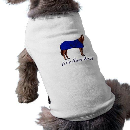 Deja el caballo alrededor de la manta azul de Brow Camisas De Mascota