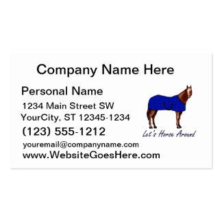 Deja el caballo alrededor de la manta azul de Brow Tarjeta De Negocio