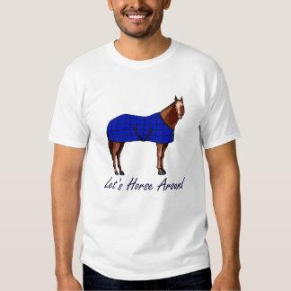Deja el caballo alrededor de la manta azul de polera