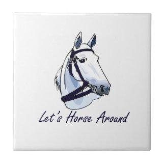 Deja el caballo alrededor del halter azul árabe azulejo cuadrado pequeño