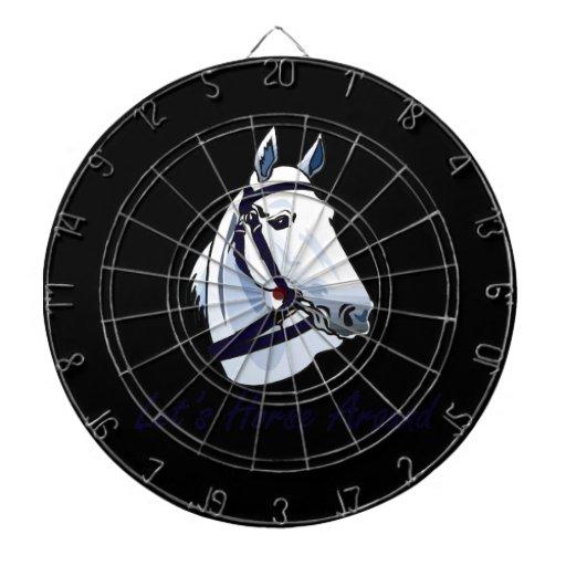 Deja el caballo alrededor del halter azul árabe tablero dardos