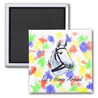 Deja el caballo alrededor del halter azul árabe imán cuadrado