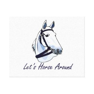 Deja el caballo alrededor del halter azul árabe impresión en lienzo