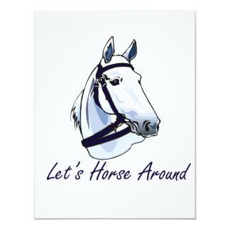 Deja el caballo alrededor del halter azul árabe invitación 10,8 x 13,9 cm