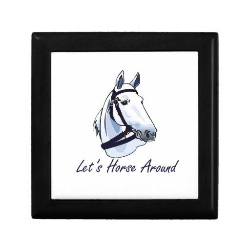 Deja el caballo alrededor del halter azul árabe joyero cuadrado pequeño