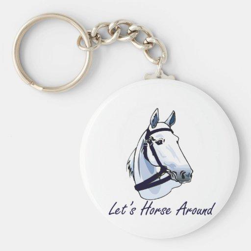 Deja el caballo alrededor del halter azul árabe llaveros