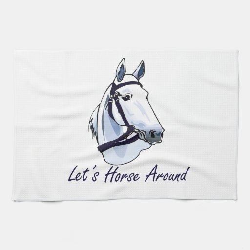 Deja el caballo alrededor del halter azul árabe toallas de cocina