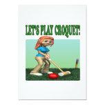 Deja el croquet 2 del juego invitación 12,7 x 17,8 cm