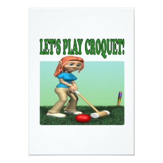 """Deja el croquet 2 del juego invitación 5"""" x 7"""""""
