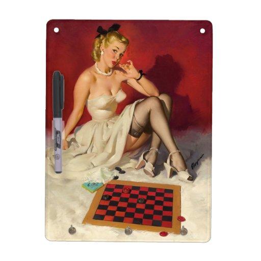 Deja el juego un juego - chica modelo retro pizarras blancas de calidad