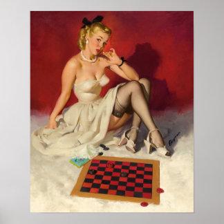 Deja el juego un juego - chica modelo retro póster