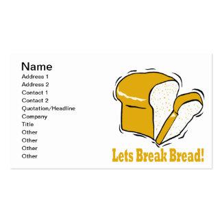 Deja el pan de la rotura plantillas de tarjeta de negocio