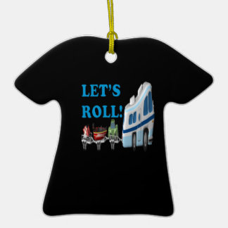 Deja el rollo adorno de cerámica en forma de camiseta