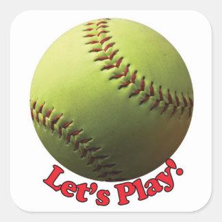 Deja el softball de Fastpitch de la bola de los Pegatina Cuadrada