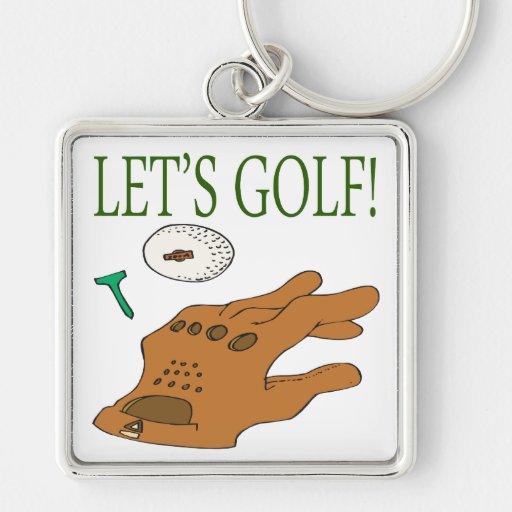 Deja golf llavero cuadrado plateado