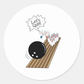 deja humor asustado fractura del dibujo animado de pegatinas redondas