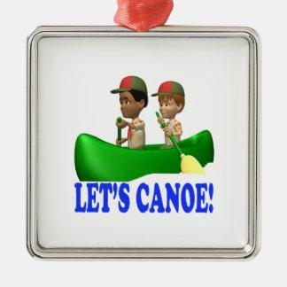 Deja la canoa adorno cuadrado plateado