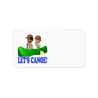 Deja la canoa etiqueta de dirección