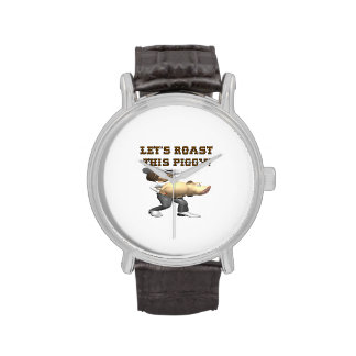 Deja la carne asada este cerdo reloj de mano