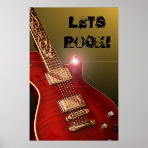 ¡Deja la roca! poster de la guitarra