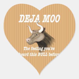 Deja Moo Humor Heart Sticker