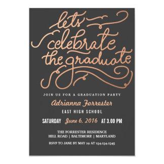 """Deja para celebrar el oro color de rosa graduado invitación 5"""" x 7"""""""