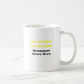 Deja para comer a bebés que la gramática ahorra taza básica blanca