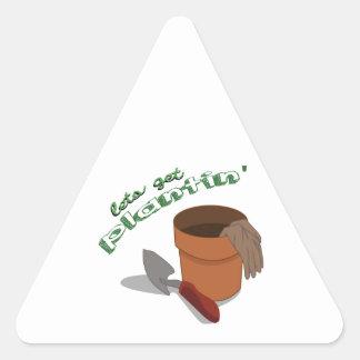 Deja para conseguir de establecimiento pegatina triangular