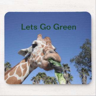 Deja para ir cojín de ratón verde de la jirafa mousepads