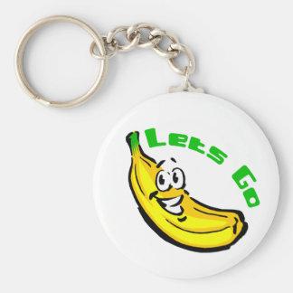 Deja para ir los plátanos llavero redondo tipo pin