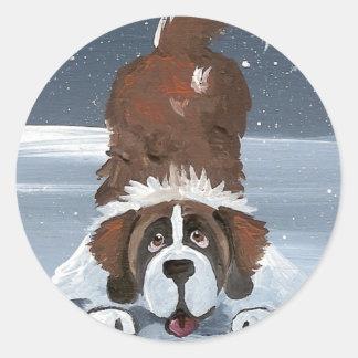 """""""Deja perro de St Bernard del juego"""" Pegatina Redonda"""