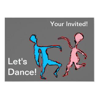 """""""deja texto de la danza"""" y los bailarines rosados invitación 5"""" x 7"""""""