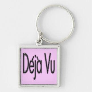 De'ja' Vu black Silver-Colored Square Keychain