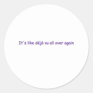 deja vu classic round sticker