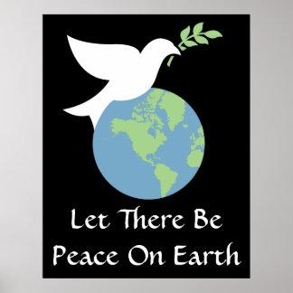 Dejado haya paz en el poster de la tierra