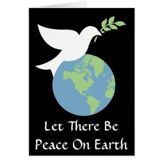 Dejado haya paz en tarjeta en blanco de la tierra