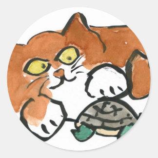 Dejado vaya clama contra la tortuga al gatito pegatina redonda