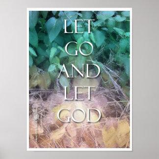 Dejado vaya dejar las letras pequeñas de dios posters