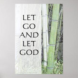Dejado vaya dejar los paneles del bambú de dios póster