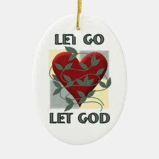 Dejado vaya deje a dios adorno navideño ovalado de cerámica