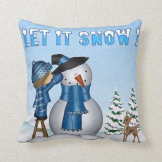 Dejáis le nevar almohada de tiro del muñeco de