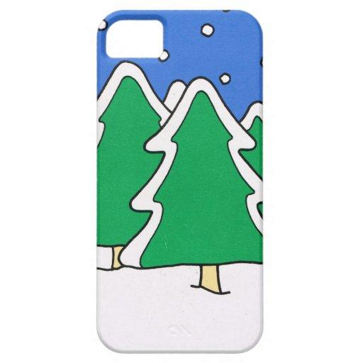 ¡Dejáis le nevar! , Árboles de navidad nevados iPhone 5 Case-Mate Funda