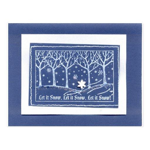 Dejáis le nevar blanco azul de los saludos del día tarjetas postales