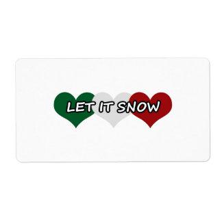 Dejáis le nevar corazón triple etiqueta de envío