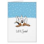 Dejáis le nevar día de fiesta del beagle - navidad tarjetón