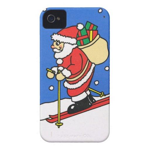 ¡Dejáis le nevar! Esquí Santa iPhone 4 Case-Mate Cárcasa