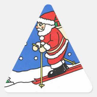 ¡Dejáis le nevar! Esquí Santa Pegatina Triangular
